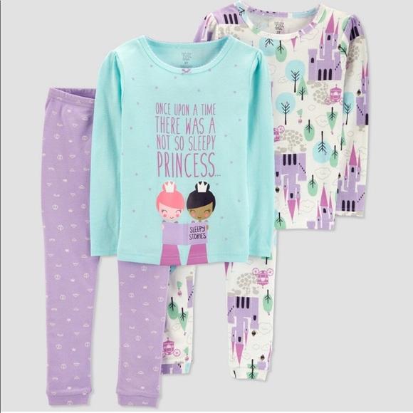 Carter/'s Infant Girls 4-Piece Pets Purple//Gray Snug Fit Pajamas NWT PJs dog cat